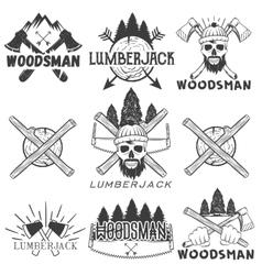 Set lumberjack logos emblems banners vector