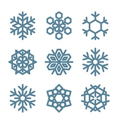 Set of Nine Snowflakes thin line ftat design vector image