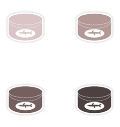 Set of paper stickers on white background canned vector