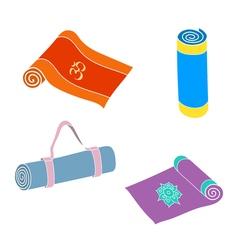Set of yoga mats vector