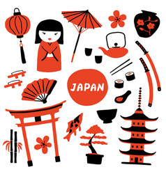 set traditional japanese symbols travel vector image