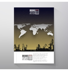 Shipyard harbor skyline night design world map vector