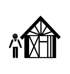 Silhouette man buiding wooden house vector