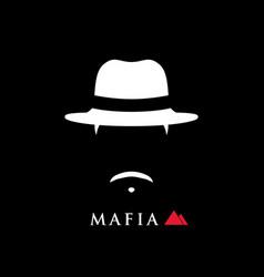 simple portrait of italian mafioso in hat man vector image