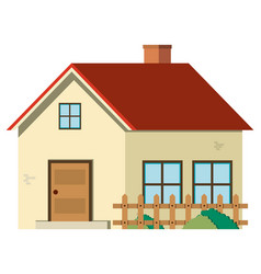 single house with red roof and wooden fence vector image