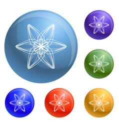 Six petal flower icons set vector
