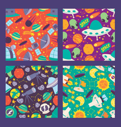 space seamless pattern planets moon satellites vector image