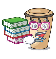 Student with book conga mascot cartoon style vector