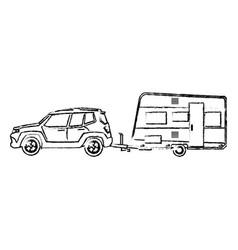 Suv car camper trailer travel transport sketch vector