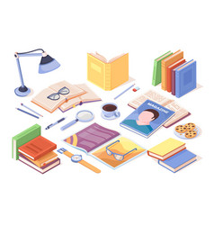 Table with books and opened magazine literature vector