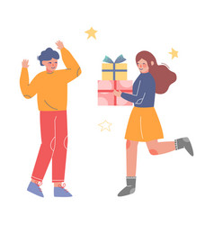 Teenage girl urning with holiday gift boxes vector