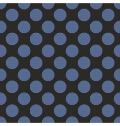 Tile pattern with blue polka dots on black vector image
