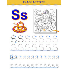 Tracing letter s for study alphabet printable vector