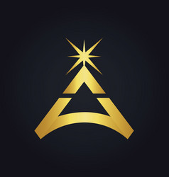 Triangle star bright gold logo vector