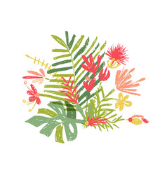 tropical hand drawn leaf tropic jungle paradise vector image
