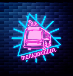 Vintage bus transportation emblem glowing neon vector