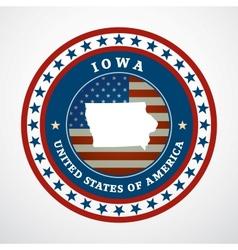 Vintage label Iowa vector