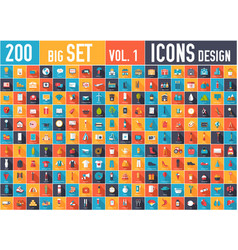 Vol 2 flat big collection set icons of medical vector