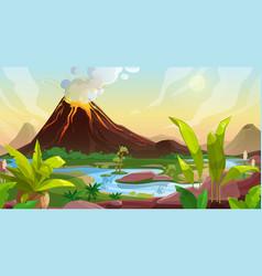 Volcano eruption cartoon background vector