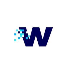 W letter lowercase pixel mark digital 8 bit logo vector