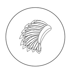 War bonnet icon in outline style isolated on white vector