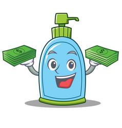 With money liquid soap character cartoon vector
