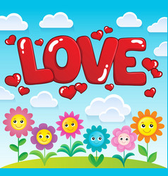 word love theme image 2 vector image