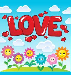 Word love theme image 2 vector