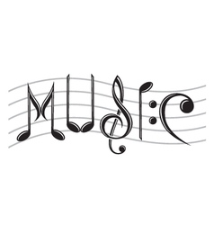 word music as notes vector image