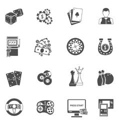 Casino gambling games black icons set vector image
