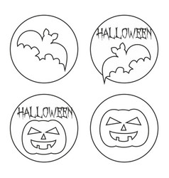 hand drawn halloween flat web button or sign set vector image vector image