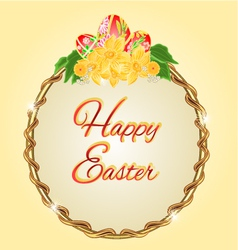 Round frame easter eggs and daffodils vector image vector image