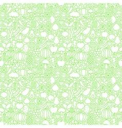 Thin Line Fresh Fruits Vegetables White Seamless vector image
