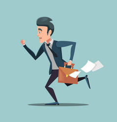 businessman with briefcase late to work vector image vector image