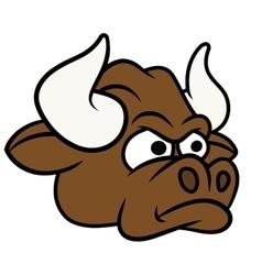 Cartoon angry bull head vector image vector image