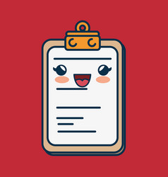 clipboard paper character handmade drawn vector image