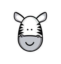 Colorful picture face cute zebra animal vector