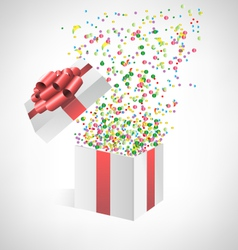 confetti with gift box on grayscale vector image