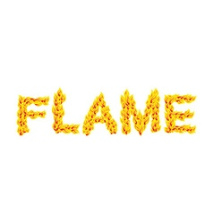 Flame fire typography burning letters fiery vector