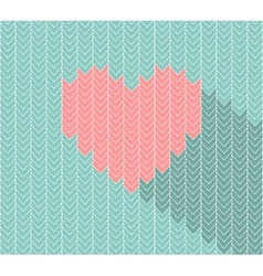 Flat heart icon in herringbone pattern vector image vector image