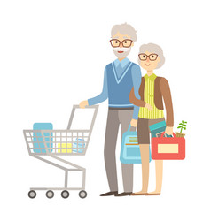 Old people couple shopping for groceries in vector