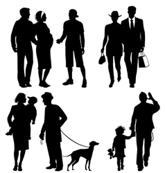 Several people city live silhouettes vector image vector image