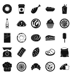 Street food icons set simple style vector