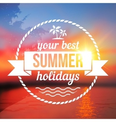 Summer holidays background with text design vector image vector image