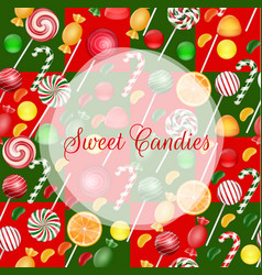 sweets background with lolipop and orange slice vector image vector image
