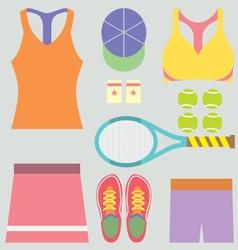 Top View Tennis Women Gears vector image vector image