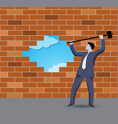 Breaking the wall business concept vector image vector image