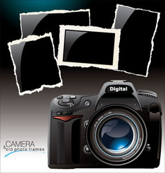 camera and old photo frames vector image