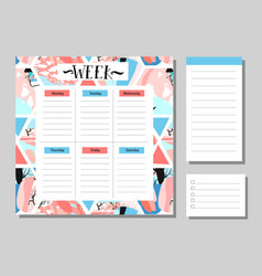 Cute calendar daily and weekly planner template vector