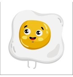 Funny fried egg isolated cartoon character vector image